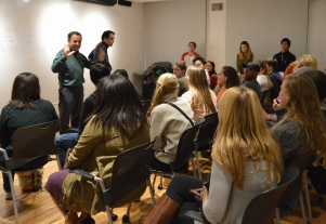 Students meet Ron and Owen Suskind.