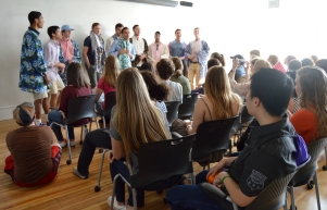 The Hullabahoos serenade students during an exchange at the University of Virginia.