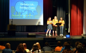 UVa students present a TED-like talk written collaboratively with the Tribe at the Festival for Arts & Autism.